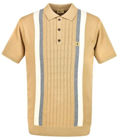 Gabicci Vintage Butterscotch Turney Stripe Knit Polo Shirt
