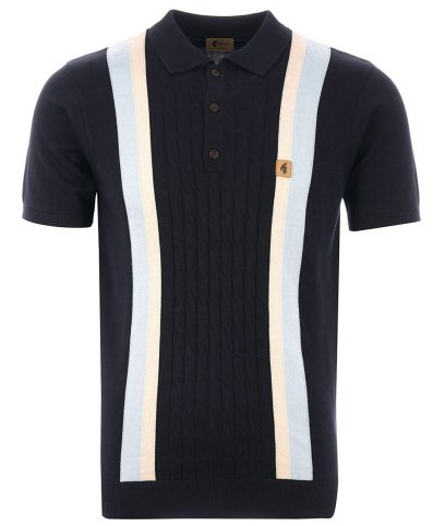Gabicci Vintage Navy Turney Stripe Knit Polo Shirt