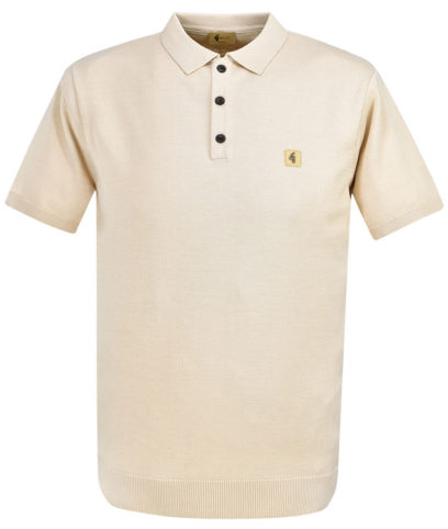 Gabicci Vintage Oat Knitted Plain Polo Shirt