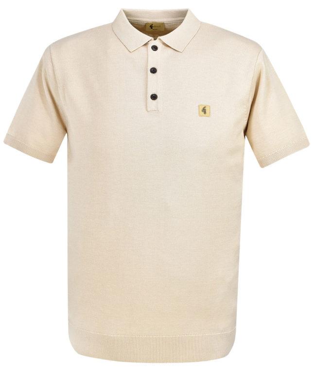 Gabicci Vintage Oat Knitted Plain Polo Shirt