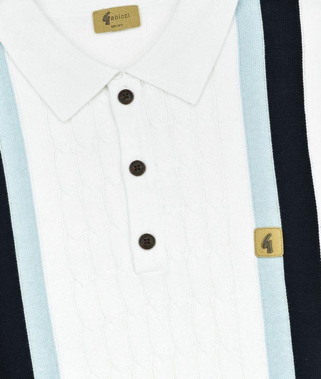 Gabicci Vintage White Turney Stripe Knit Polo Shirt