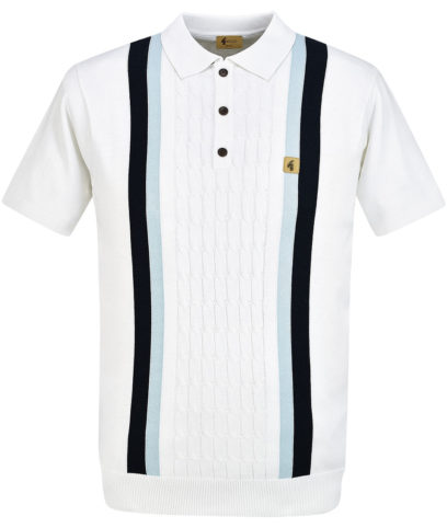Gabicci Vintage White Turney Stripe Knit Polo Shirt