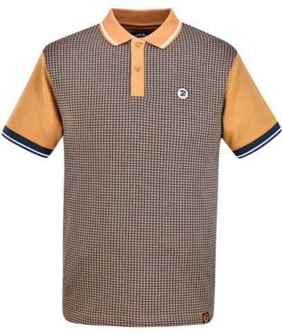 Trojan Records Golden Tan Houndstooth Polo Shirt