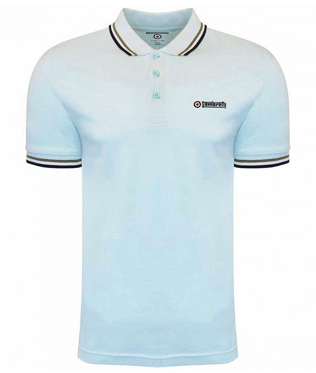 Lambretta Cool Blue Triple Tipped Polo Shirt
