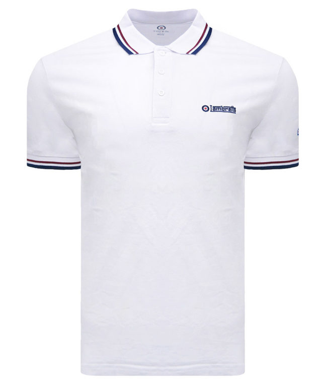 Lambretta White Twin Tipped Polo Shirt