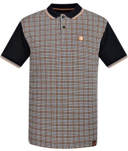 Trojan Records Black Check Panel Polo Shirt