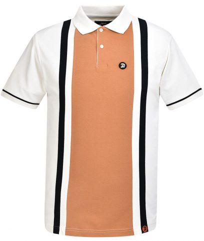Trojan Records Ecru Stripe Panel Polo Shirt