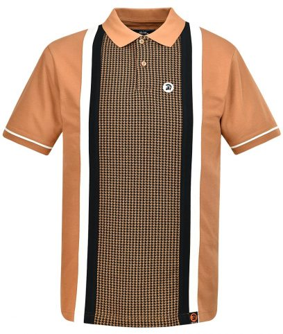 Trojan Records Golden Tan Houndstooth Panel Polo Shirt