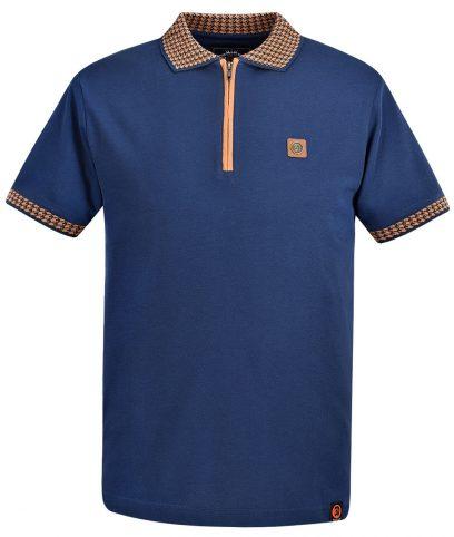 Trojan Records Navy Houndstooth Trim Zip Polo Shirt