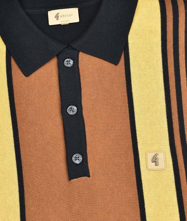 Gabicci Vintage Black Searle Stripe LS Polo Shirt