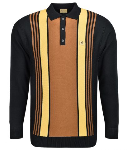 Gabicci Vintage Black Searle Stripe LS Polo Shirt