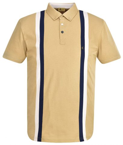 Gabicci Vintage Butterscotch Dale Racing Stripe Polo Shirt