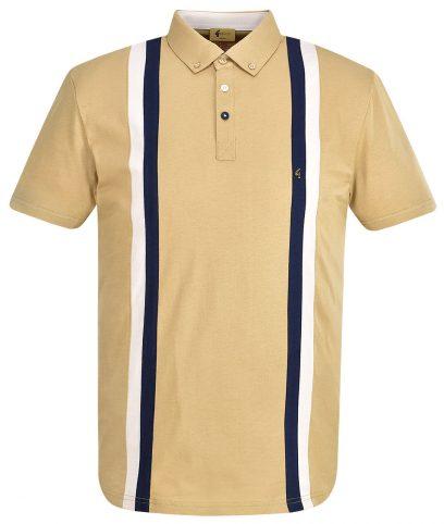 Gabicci Vintage Butterscotch Dale Racing Stripe Polo Shirt