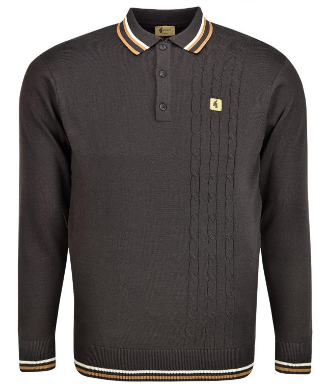Gabicci Vintage Expresso Callum Cable LS Polo Shirt