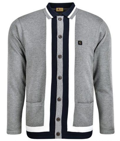 Gabicci Vintage Grey Finsen Stripe Cardigan