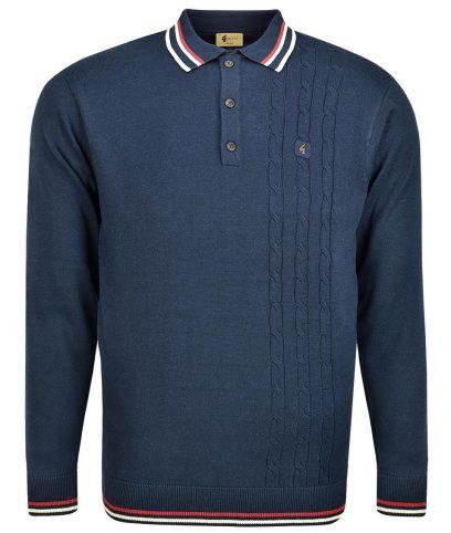 Gabicci Vintage Navy Callum Cable LS Polo Shirt