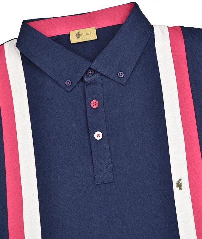 Gabicci Vintage Navy Dale Racing Stripe Polo Shirt