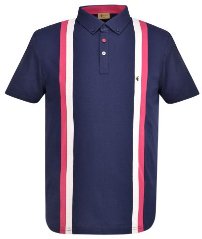 Gabicci Vintage Navy Dale Racing Stripe Polo Shirt