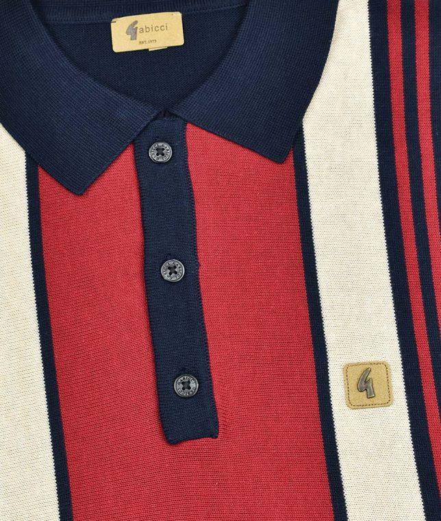 Gabicci Vintage Navy Searle Stripe LS Polo Shirt