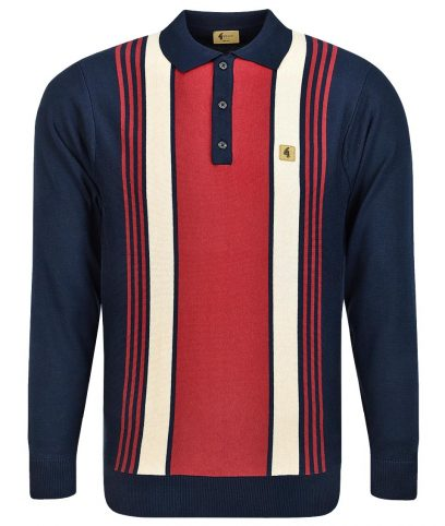Gabicci Vintage Navy Searle Stripe LS Polo Shirt