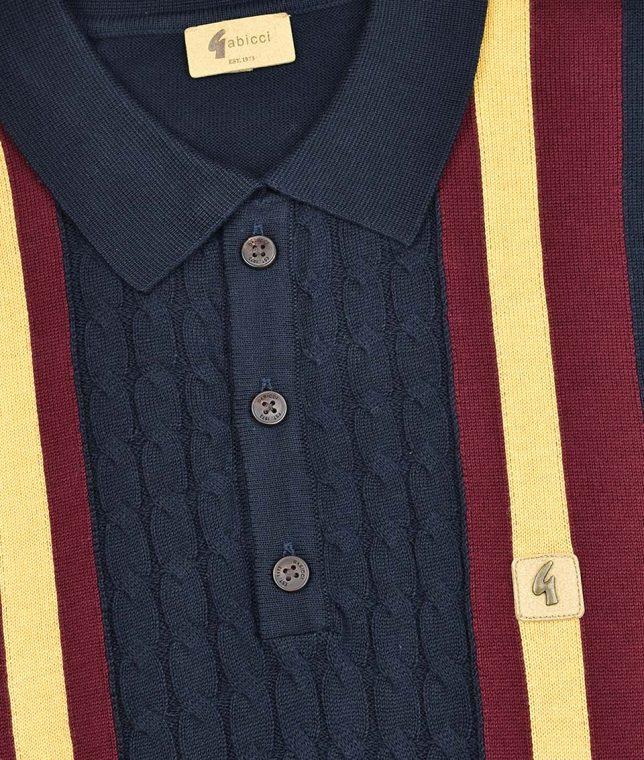 Gabicci Vintage Navy Tram Stripe Cable LS Polo Shirt
