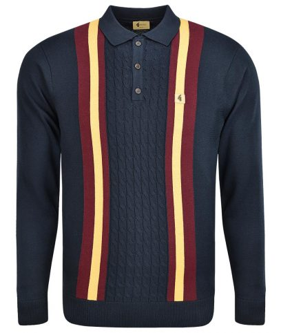 Gabicci Vintage Navy Tram Stripe Cable LS Polo Shirt