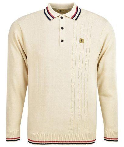 Gabicci Vintage Oat Callum Cable LS Polo Shirt