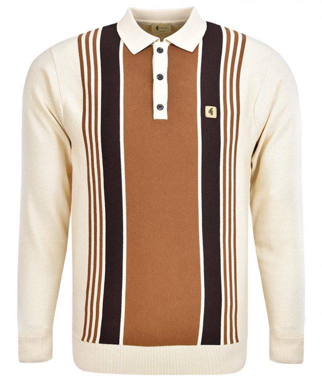 Gabicci Vintage Oat Searle Stripe LS Polo Shirt