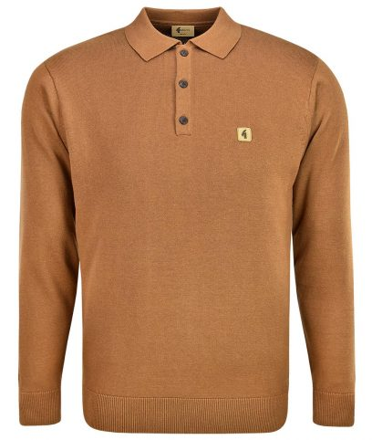 Gabicci Vintage Toffee Francesco LS Polo Shirt