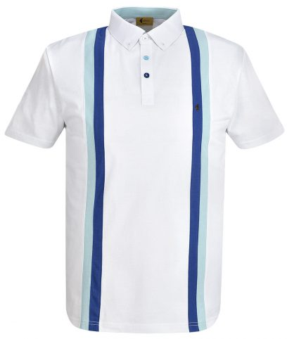 Gabicci Vintage White Dale Racing Stripe Polo Shirt