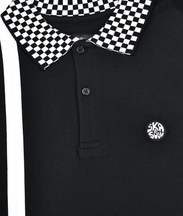Ska & Soul Black Twin Stripe Chequerboard Polo Shirt