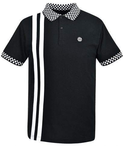 Ska & Soul Black Twin Stripe Chequerboard Polo Shirt