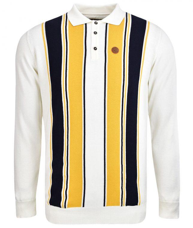 Ska & Soul Ecru Stripe LS Polo Shirt