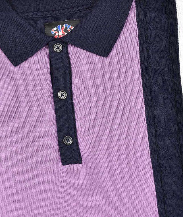 Ska & Soul Navy Stripe Cable LS Polo Shirt