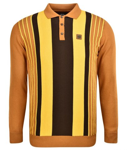 Trojan Records Golden Tan Stripe LS Polo Shirt