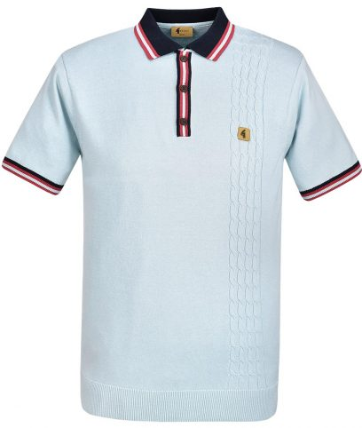 Gabicci Vintage Mist Croxted Cable Knit Polo Shirt