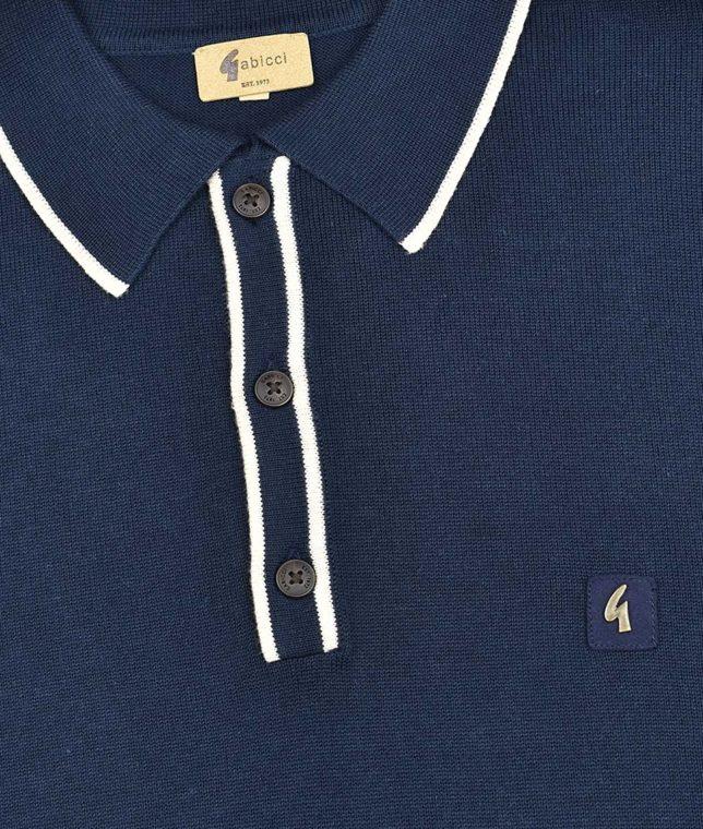 Gabicci Vintage Navy Lineker Tipped LS Polo Shirt