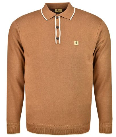 Gabicci Vintage Toffee Lineker Tipped LS Polo Shirt
