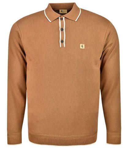 Gabicci Vintage Toffee Lineker Tipped LS Polo Shirt