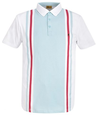 Gabicci Vintage White Briar Stripe Panel Polo Shirt