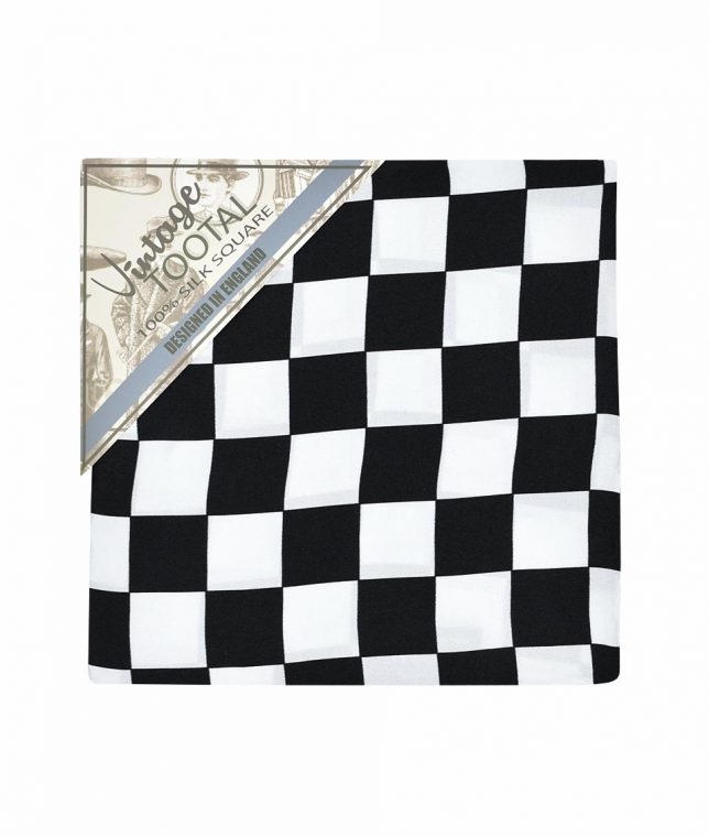 Tootal Black & White Chequerboard Silk Pocket Square
