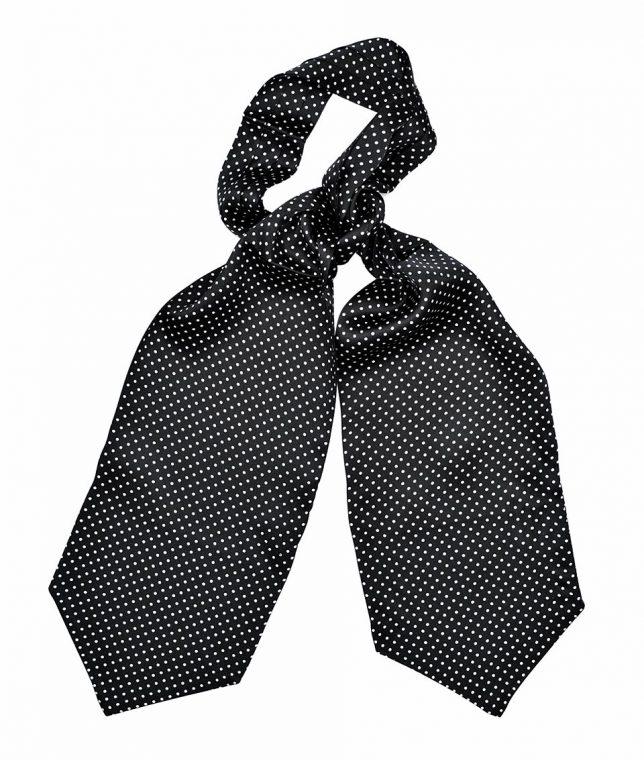 Tootal Black & White Polka Dot Silk Cravat