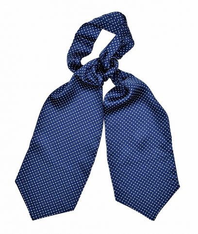 Tootal Navy & White Polka Dot Silk Cravat