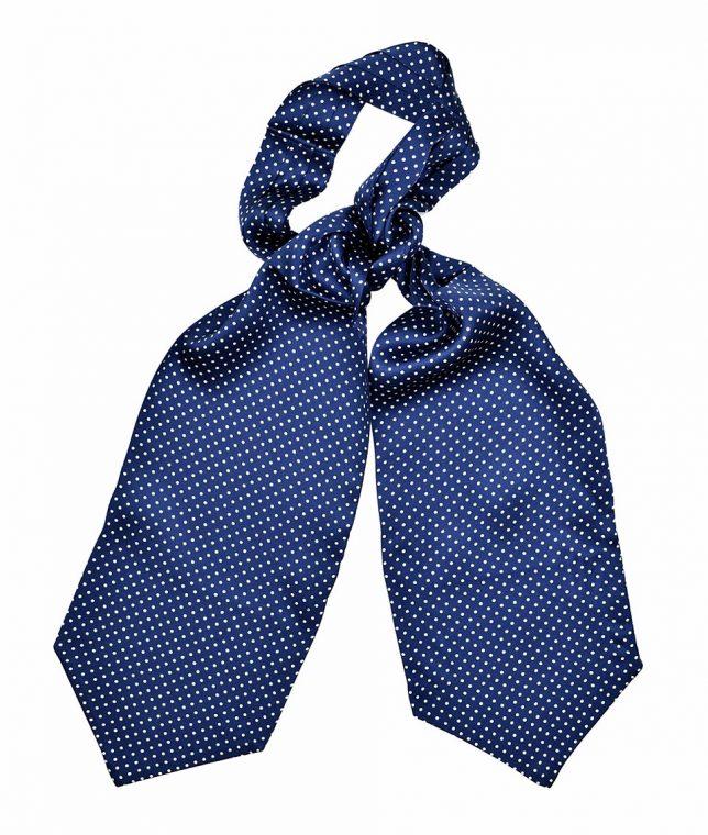 Tootal Navy & White Polka Dot Silk Cravat