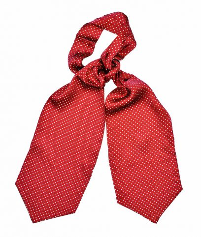 Tootal Red & White Polka Dot Silk Cravat