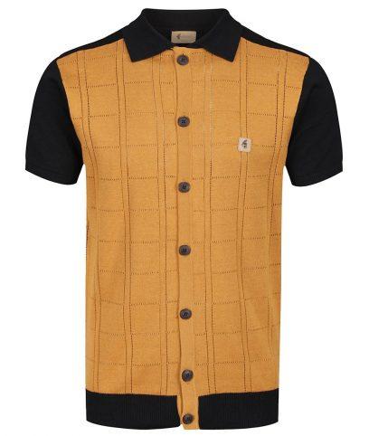 Gabicci Vintage Black Morgan Pointelle Check Polo Shirt