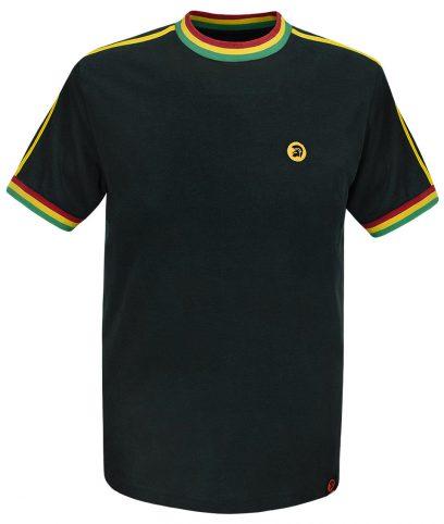 Trojan Records Black Rasta Twin Stripe Plain T-Shirt