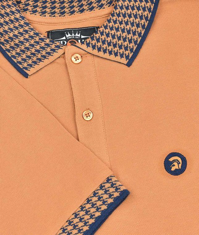 Trojan Records Golden Tan Houndstooth Trim Polo Shirt