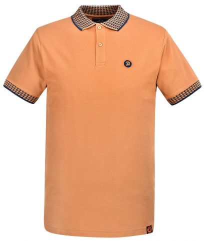 Trojan Records Golden Tan Houndstooth Trim Polo Shirt