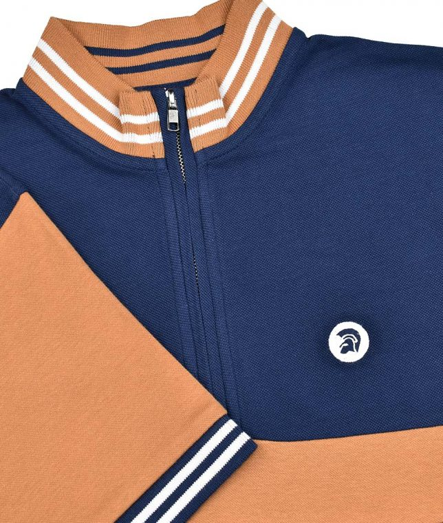 Trojan Records Navy Houndstooth Stripe Cycling Top